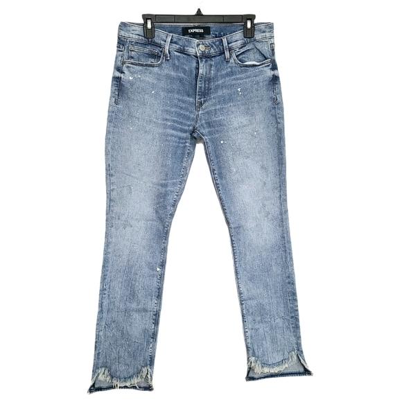 Express Super Skinny Distressed Hem Jeans sz 10R